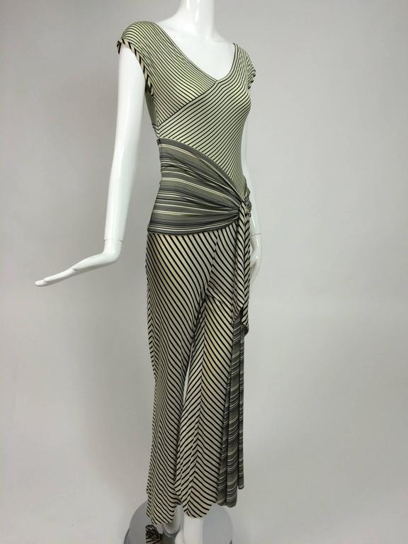 Vintage JIKI Monte Carlo Body con striped asymmetrical hem jumpsuit 1980s 9