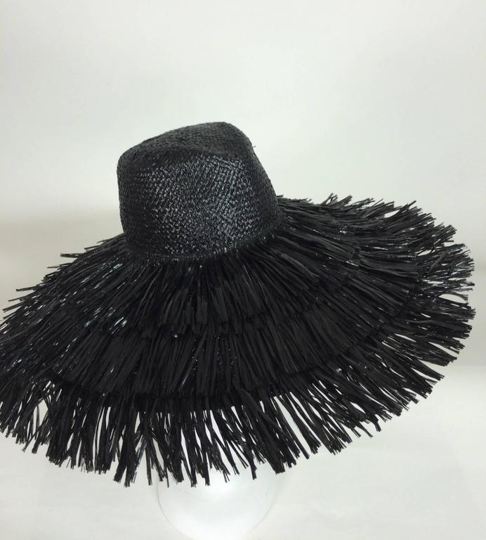 Vintage Eric Javits glazed black straw shaggy finge wide brim hat 1980s unworn 3