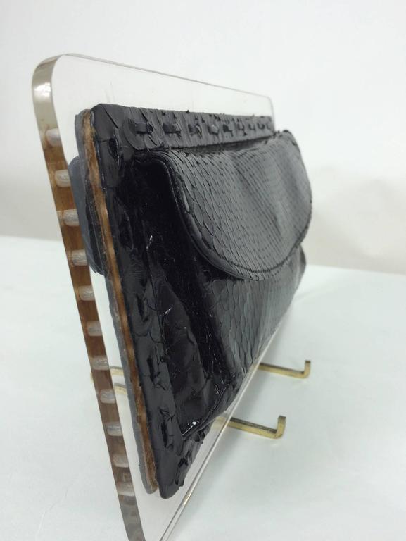 Black Vintage Lucite & Snakeskin double pocket clutch handbag one-off 1970s For Sale