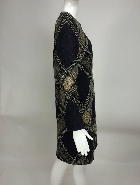 Black Bill Blass Beaded Plaid Coat Runway 1970s For Sale
