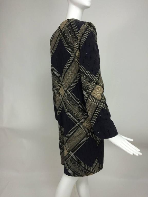 Bill Blass Beaded Plaid Coat Runway 1970s In Excellent Condition For Sale In West Palm Beach, FL