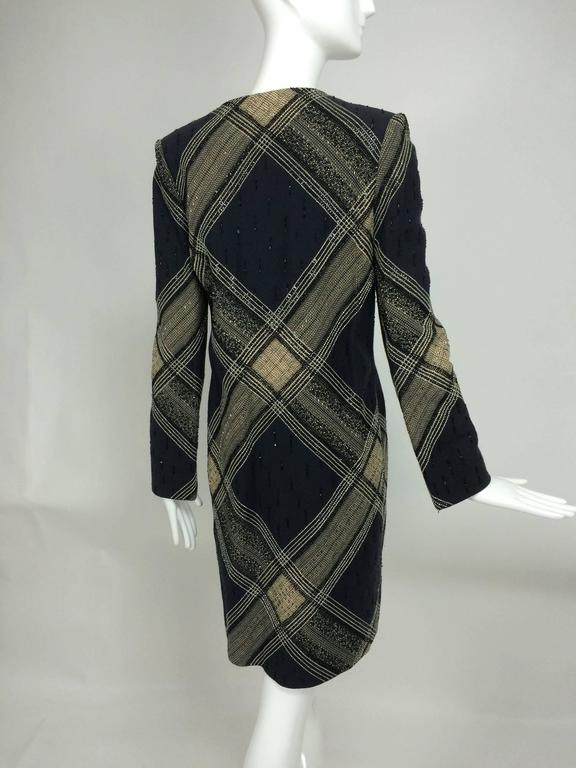 Women's Bill Blass Beaded Plaid Coat Runway 1970s For Sale