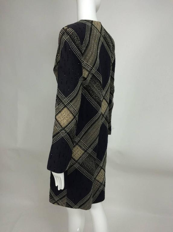 Bill Blass Beaded Plaid Coat Runway 1970s For Sale 1