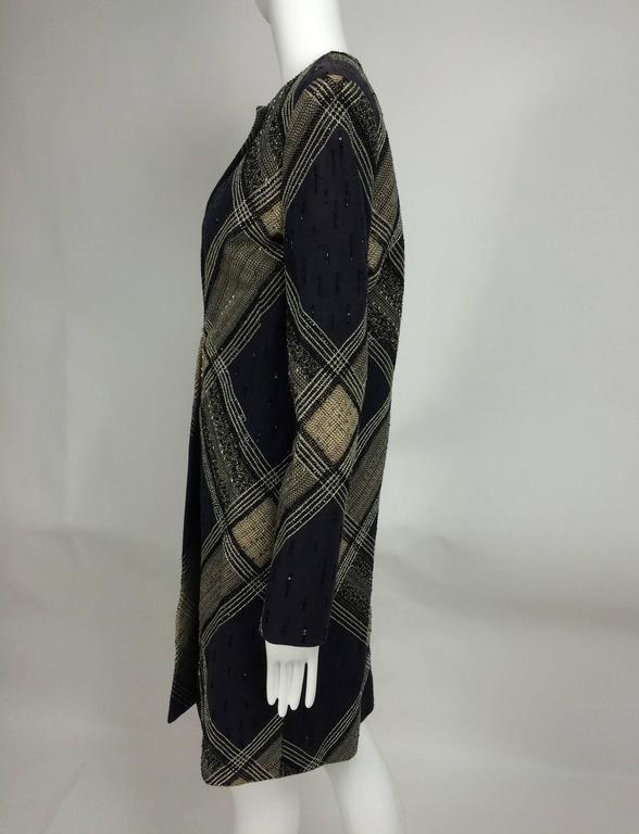 Bill Blass Beaded Plaid Coat Runway 1970s For Sale 2