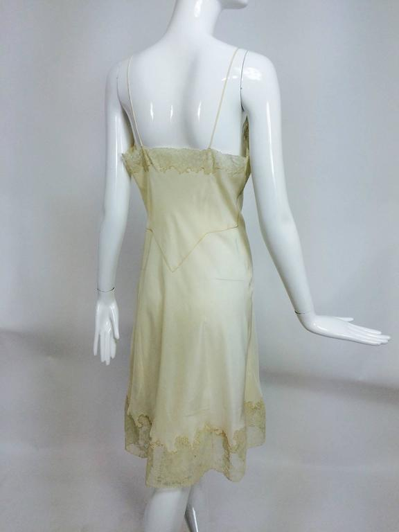 vintage French hand made embroidered champagne silk & lace slip 1950s In Excellent Condition For Sale In West Palm Beach, FL