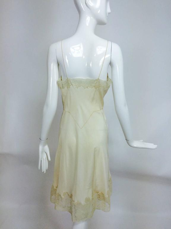 Women's vintage French hand made embroidered champagne silk & lace slip 1950s For Sale
