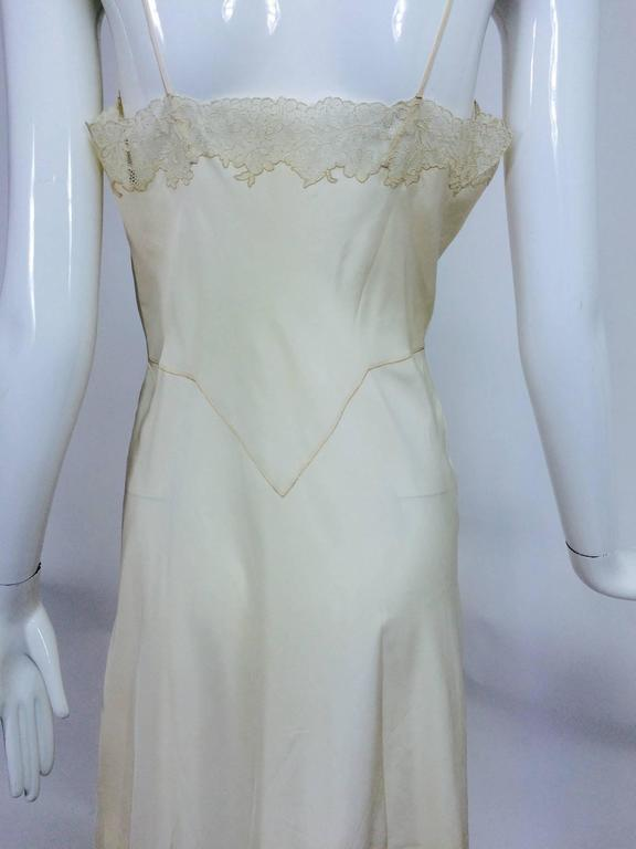 vintage French hand made embroidered champagne silk & lace slip 1950s For Sale 1