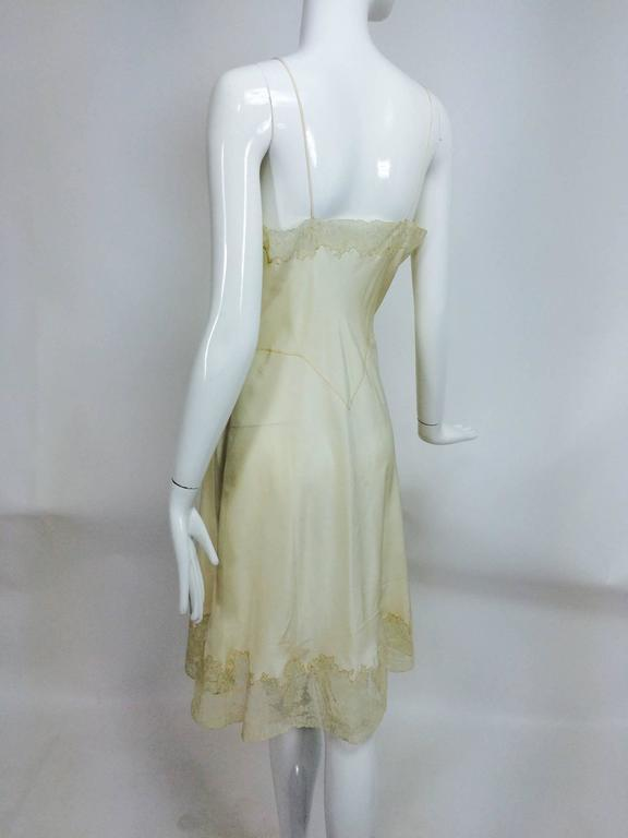 vintage French hand made embroidered champagne silk & lace slip 1950s For Sale 2