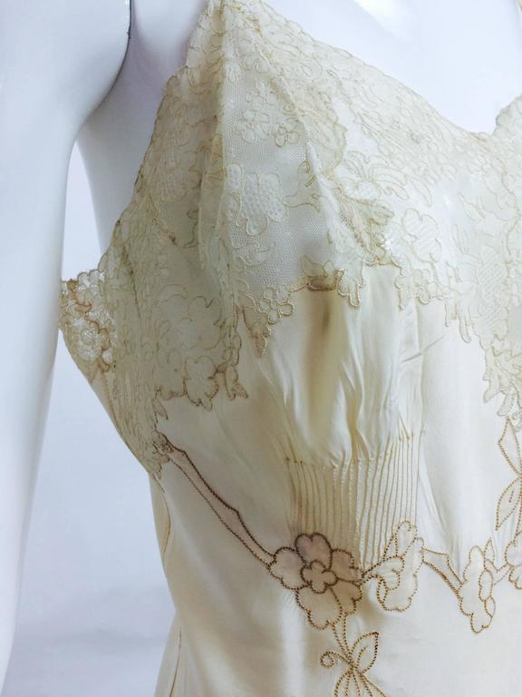vintage French hand made embroidered champagne silk & lace slip 1950s For Sale 4