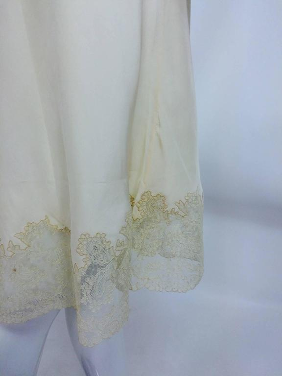 vintage French hand made embroidered champagne silk & lace slip 1950s For Sale 5