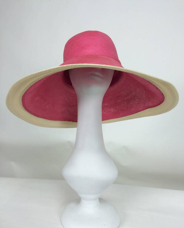 Pink Eric Javits pink & natural fine straw wide brim hat For Sale