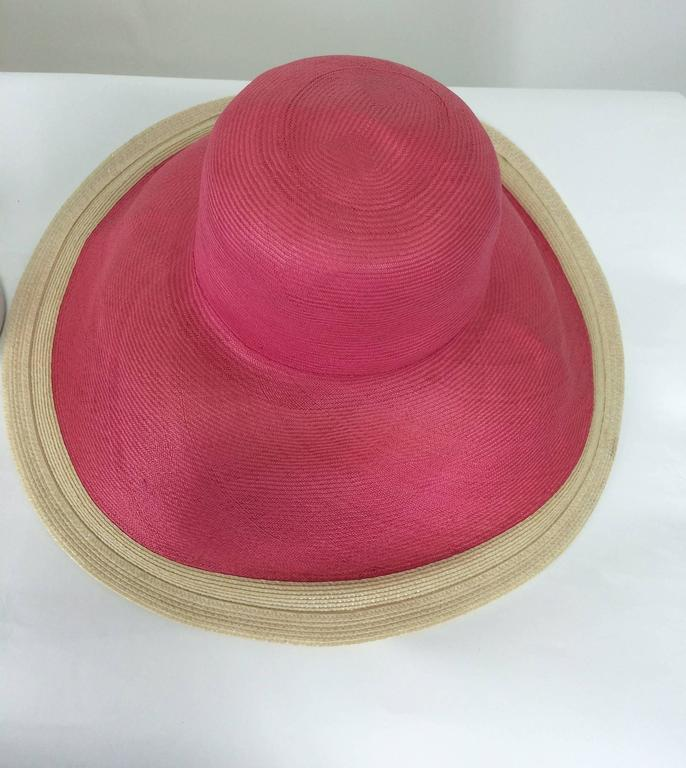 Eric Javits pink & natural fine straw wide brim hat In New Condition For Sale In West Palm Beach, FL