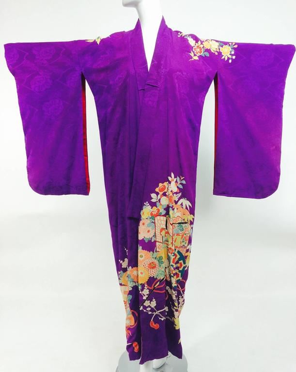 Pre WWII embroidered figured purple silk crepe floral Japanese kimono 1930s 2