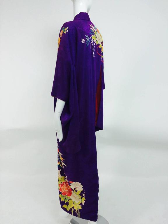 Pre WWII embroidered figured purple silk crepe floral Japanese kimono 1930s 4