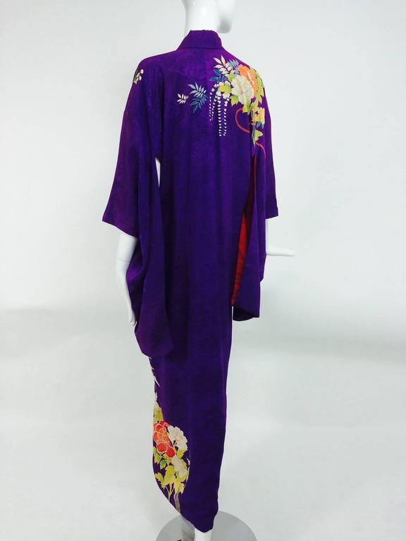 Pre WWII embroidered figured purple silk crepe floral Japanese kimono 1930s 6