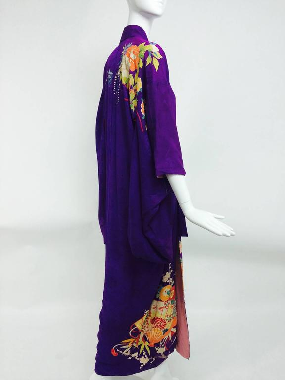 Pre WWII embroidered figured purple silk crepe floral Japanese kimono 1930s 7