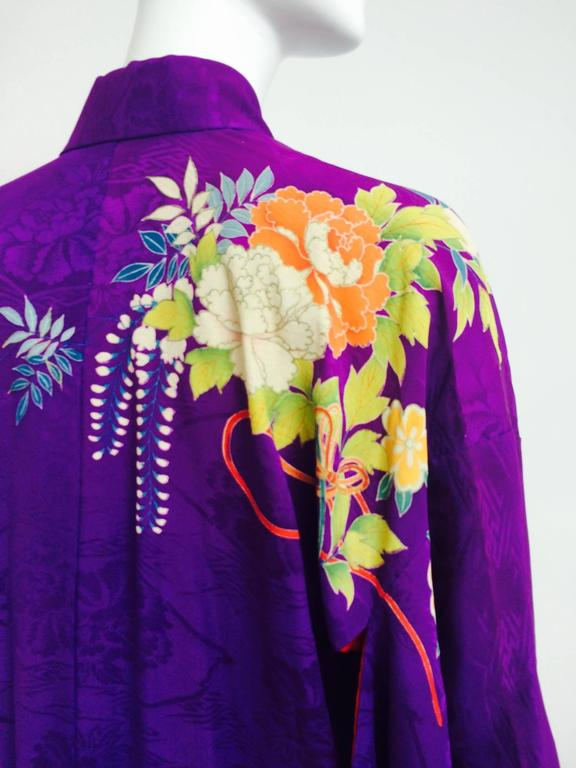 Pre WWII embroidered figured purple silk crepe floral Japanese kimono 1930s 8