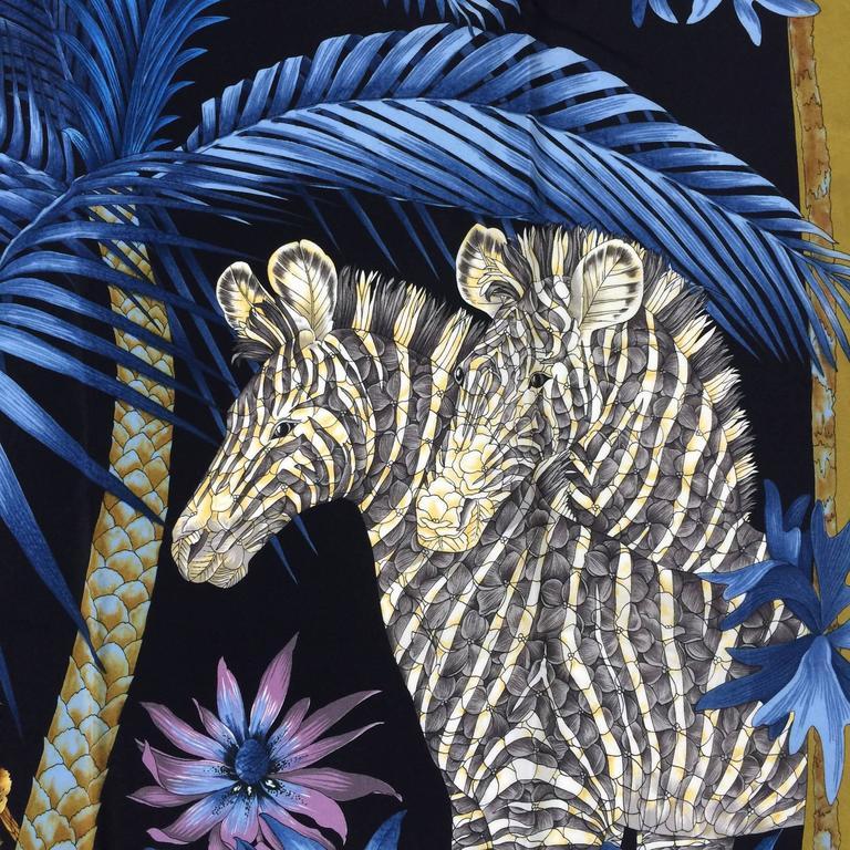 Vintage Ferragamo blue jungle silk scarf Lions & Zebras 1980s 2