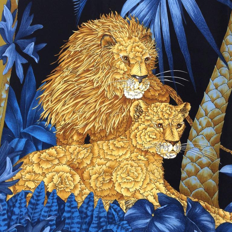 Vintage Ferragamo blue jungle silk scarf Lions & Zebras 1980s 3