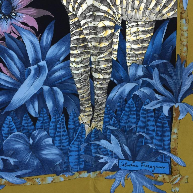 Vintage Ferragamo blue jungle silk scarf Lions & Zebras 1980s 4