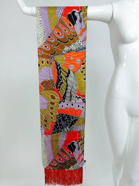 Vintage Doro wide & long 100% silk fringe graphic butterfly scarf 1960s 2