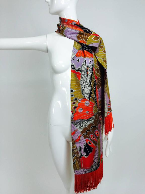 Brown Vintage Doro wide & long 100% silk fringe graphic butterfly scarf 1960s For Sale