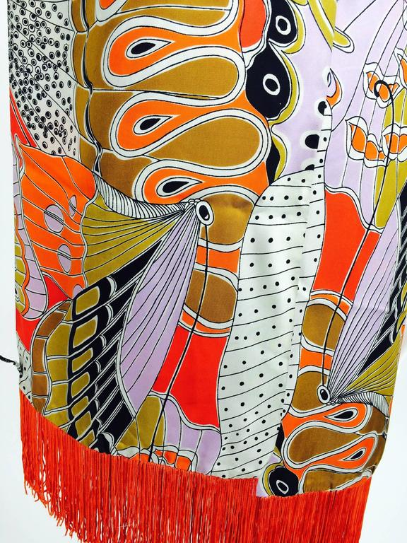 Vintage Doro wide & long 100% silk fringe graphic butterfly scarf 1960s 4