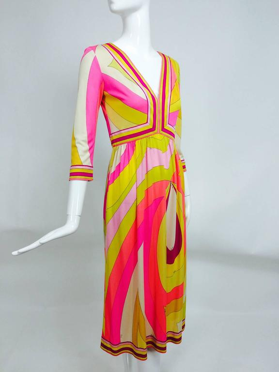 Vintage Emilio Pucci pink & citron Silk jersey dress 1960s...Amazing dress with brilliant colours and design, the best of what we all love about vintage pucci! Deep V neckline, 3/4 length sleeves, the bodice is fitted with a high waist and a