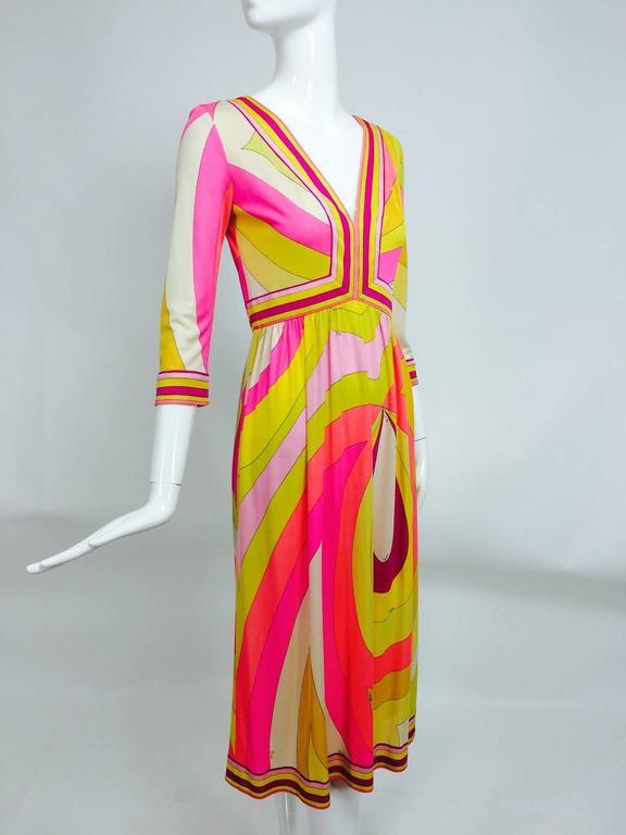 Vintage Emilio Pucci hot pink & citron Silk jersey dress 1960s 2