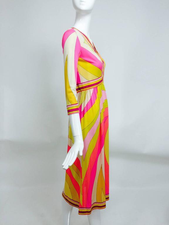 Vintage Emilio Pucci hot pink & citron Silk jersey dress 1960s 3