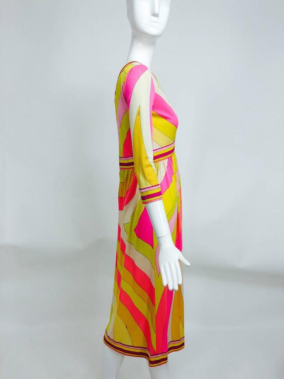 Vintage Emilio Pucci hot pink & citron Silk jersey dress 1960s In Excellent Condition For Sale In West Palm Beach, FL