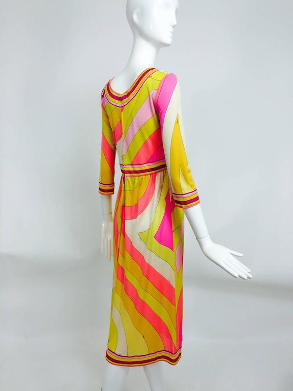 Vintage Emilio Pucci hot pink & citron Silk jersey dress 1960s 5
