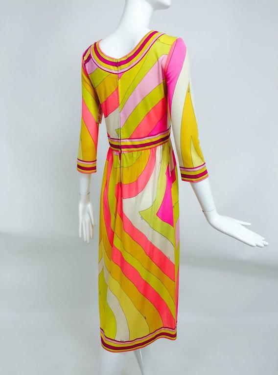 Vintage Emilio Pucci hot pink & citron Silk jersey dress 1960s 6