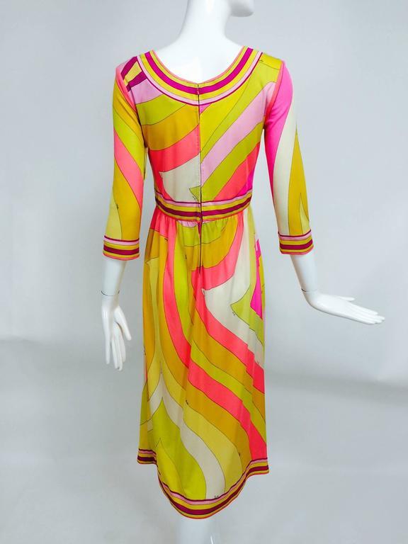 Vintage Emilio Pucci hot pink & citron Silk jersey dress 1960s For Sale 2