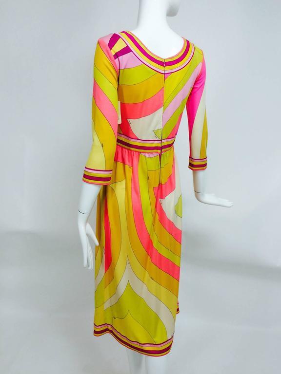 Vintage Emilio Pucci hot pink & citron Silk jersey dress 1960s 8