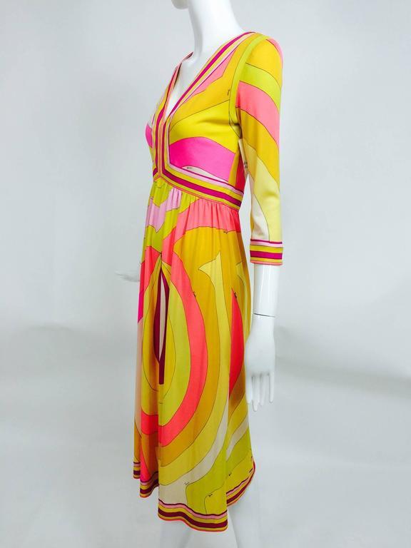 Vintage Emilio Pucci hot pink & citron Silk jersey dress 1960s 9