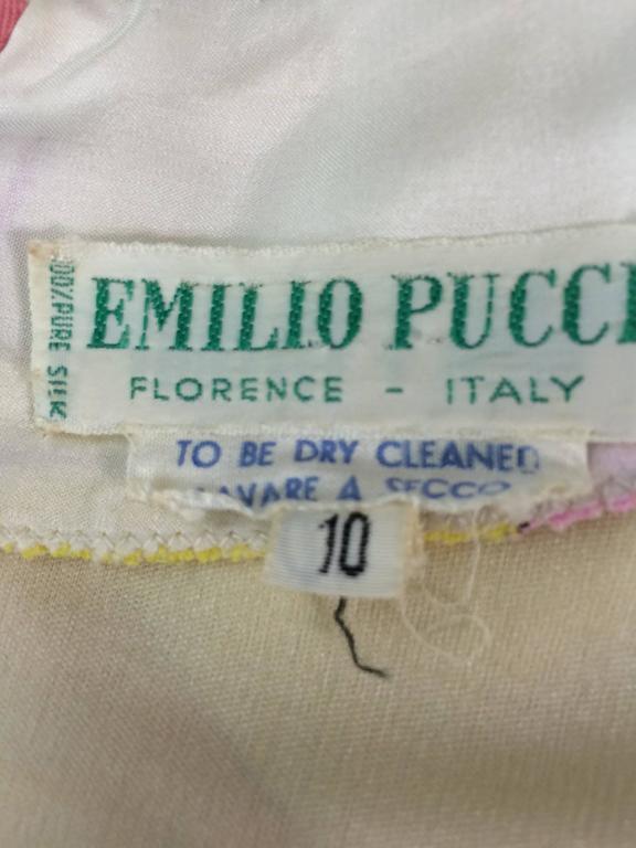 Vintage Emilio Pucci hot pink & citron Silk jersey dress 1960s 10