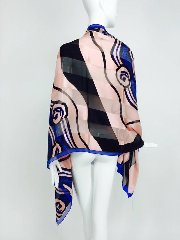 Vintage Roger Vivier Paris Art Deco design silk shawl 1990s 6