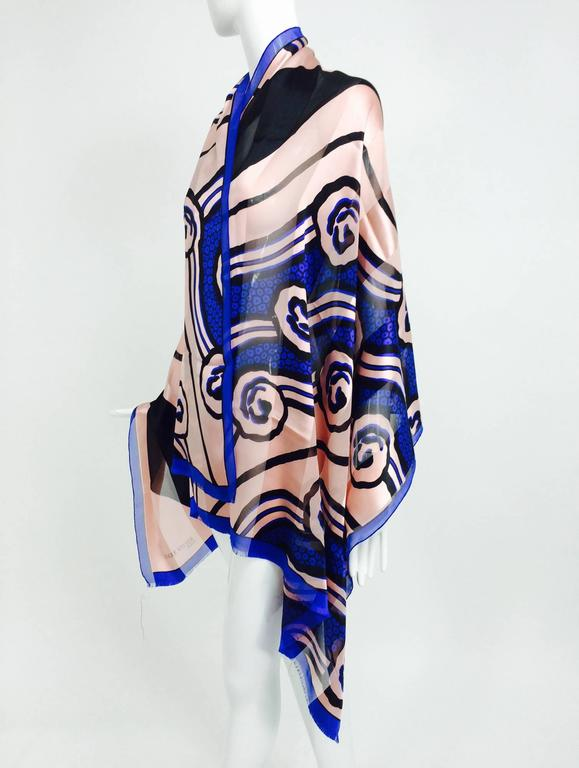 Vintage Roger Vivier Paris Art Deco design silk shawl 1990s 8