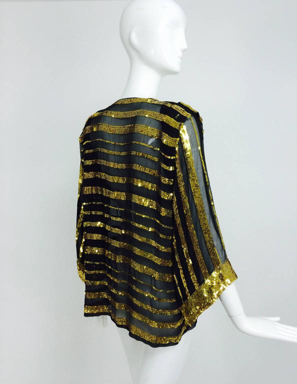 Vintage Sweelo black silk and gold sequin kimono style jacket 1970s unworn In New Condition In West Palm Beach, FL