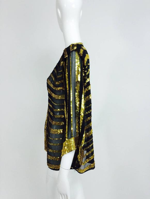 Vintage Sweelo black silk and gold sequin kimono style jacket 1970s unworn 3