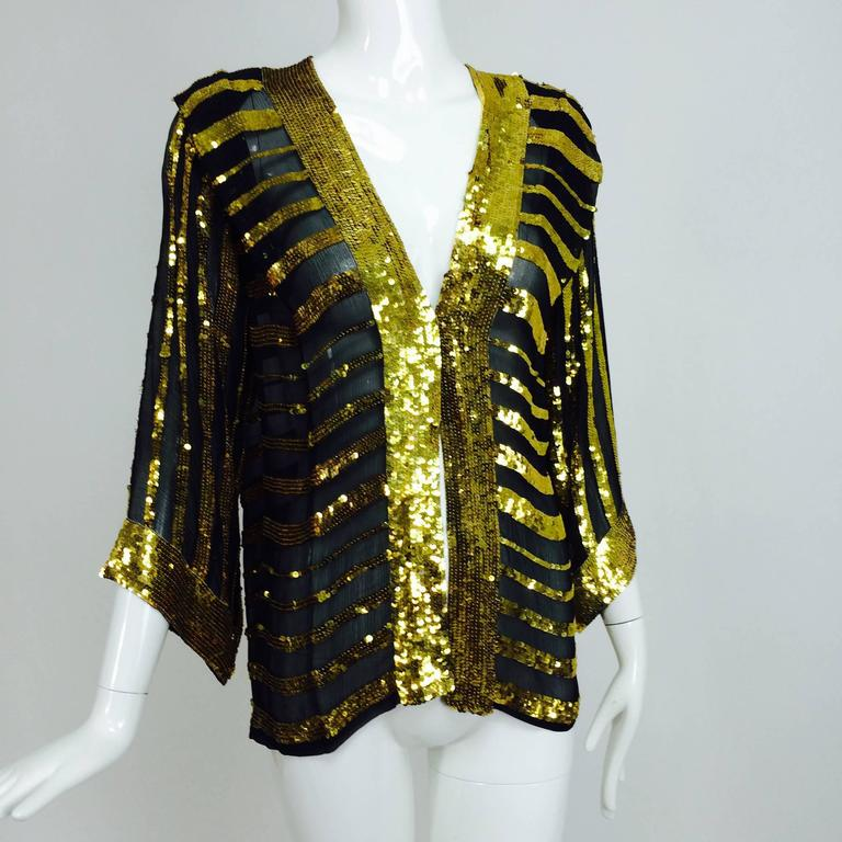 Vintage Sweelo black silk and gold sequin kimono style jacket 1970s unworn 4