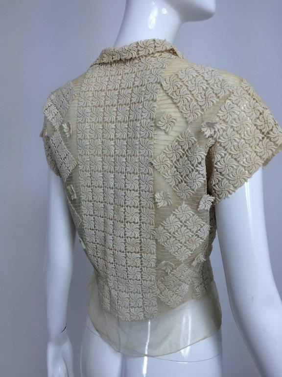 Vintage sheer cream cotton tulle & lace button front short sleeve blouse 1930s 3