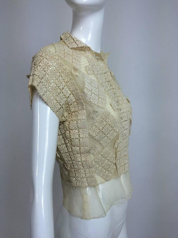 Vintage sheer cream cotton tulle & lace button front short sleeve blouse 1930s 5