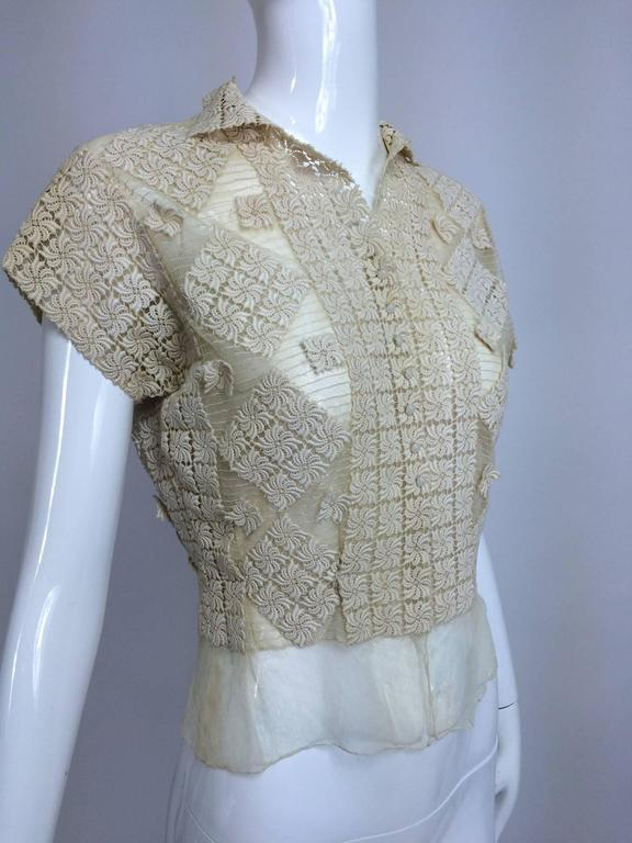 Vintage sheer cream cotton tulle & lace button front short sleeve blouse 1930s 6