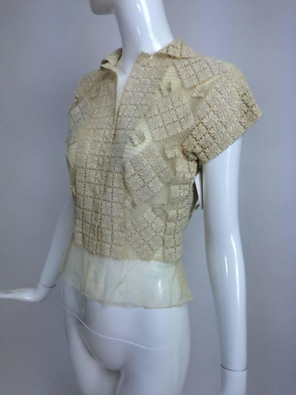 Vintage sheer cream cotton tulle & lace button front short sleeve blouse 1930s 7
