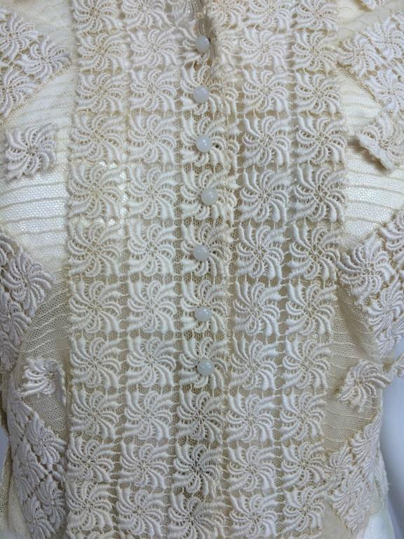 Vintage sheer cream cotton tulle & lace button front short sleeve blouse 1930s 10