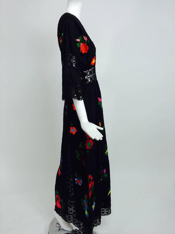 Black Vintage colourfully embroidered black cotton & lace Mexican maxi dress 1970s For Sale