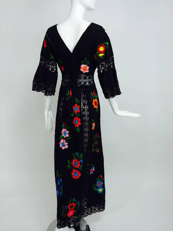 Vintage Colourfully Embroidered Black Cotton And Lace