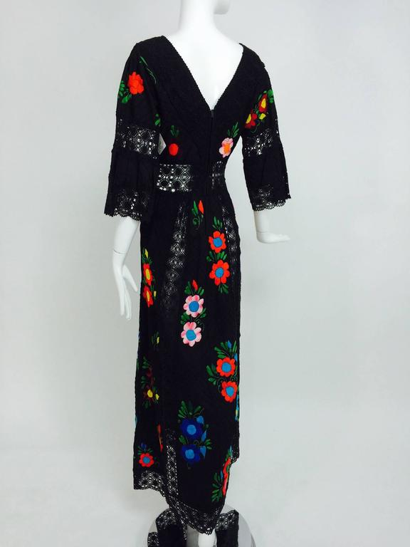 Vintage colourfully embroidered black cotton & lace Mexican maxi dress 1970s For Sale 2
